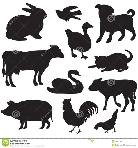 silhouettes of hand drawn farm animals dog cat duck