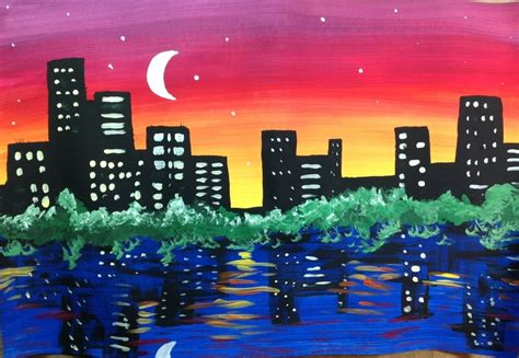 paint nite cities city skyline painting lesson create with me