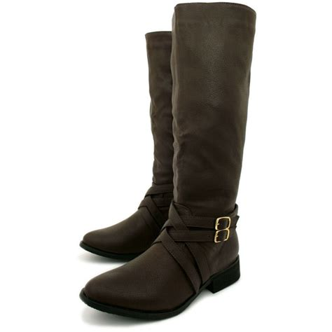 leather knee high boots for womens brown leather style biker knee high stretch buckle boots from buy uk