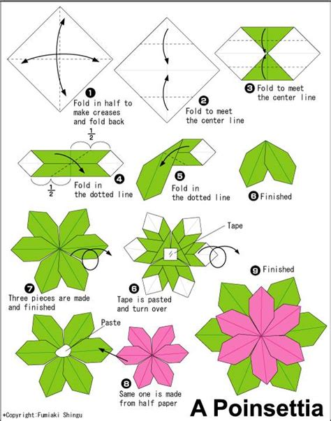 how to fold a flower origami how to fold an origami flower poinsettia origami paper