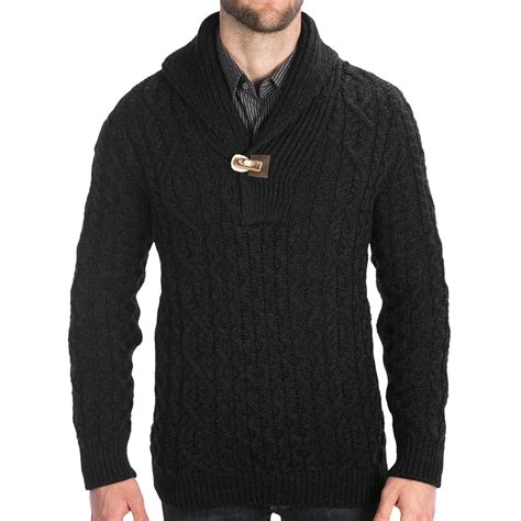 mens sweaters peregrine by j g aran shawl sweater merino wool