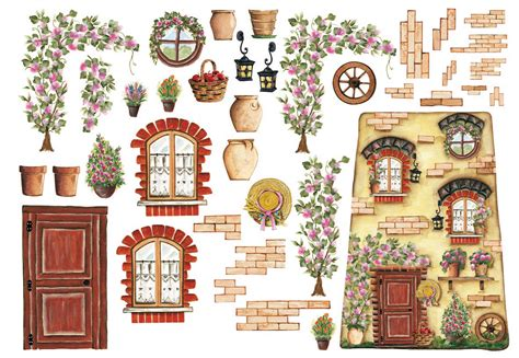 Decoupage Ricepaper House With Flowers By Calambour