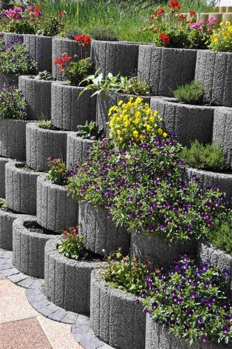 cinder block garden wall retaining wall ideas concrete planters as a supporting