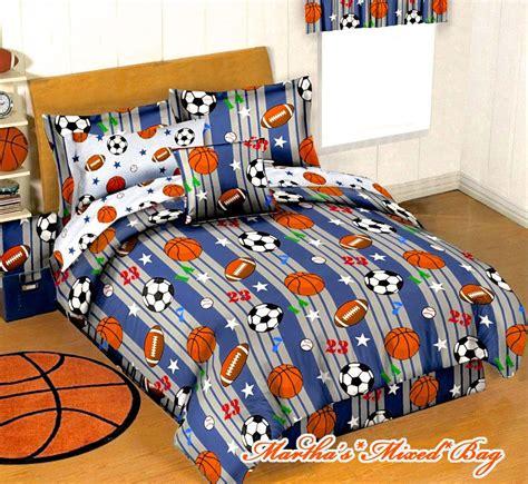 sports bedding set boys blue gray sports baseball basketball football soccer