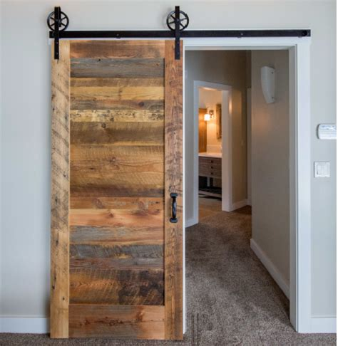 reclaimed wood interior doors clear finish on single door