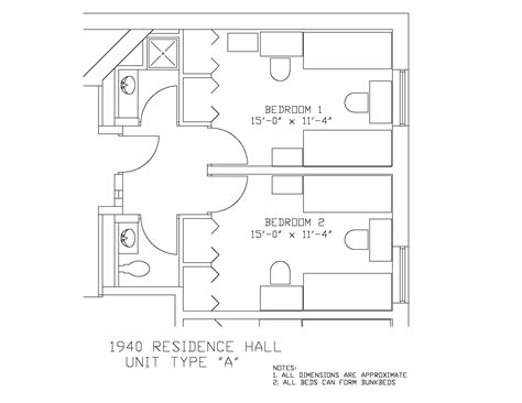 Kitchen Floor Plan Dimensions 1940 residence hall university housing and residential life