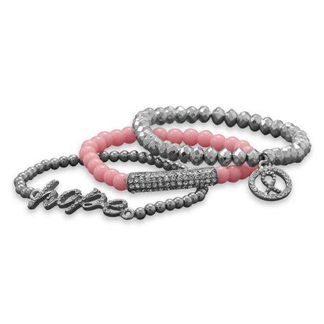 breast cancer bead bracelets breast cancer awareness pink ribbon beaded bracelet set