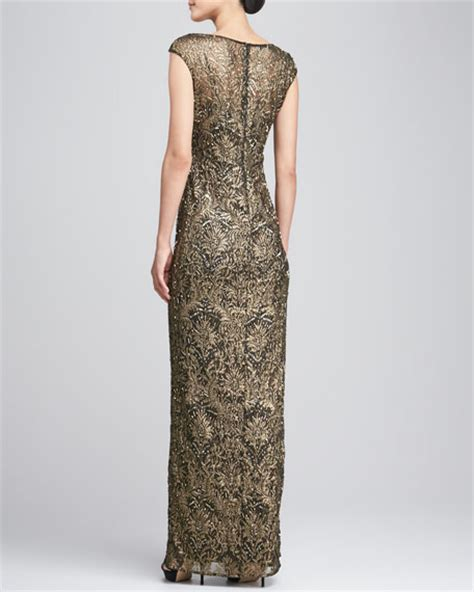 cap sleeve beaded sequined gown unger new york cap sleeve sequined beaded gown