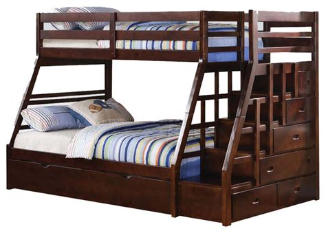 wood bunk bed with stairs espresso wood stairway chest bunk bed w