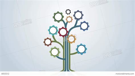 mechanical coloured gear abstract tree animation for intro