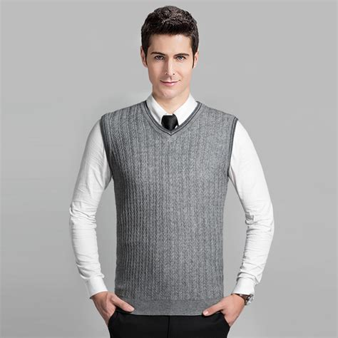 mens cable knit sweaters 2016 style fashion grey v neck sleeveless knitting