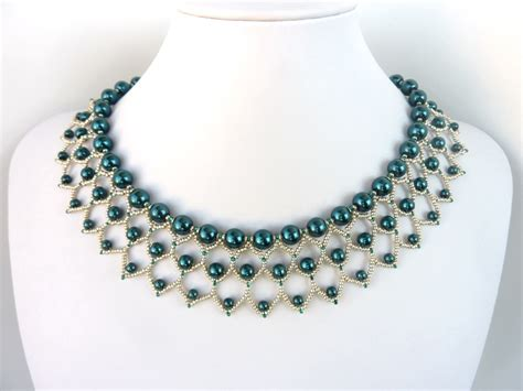 patterns for jewelry free beading pattern for pearl petals necklace woven