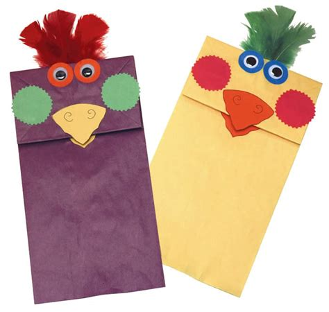 paper puppet crafts rainbow paper bag bird puppets family crafts