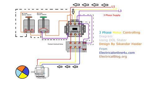 3 Phase Motor by Three Phase Wiring Diagram Motor Thermal Relay