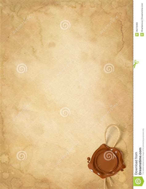 sealing paper paper sheet with wax seal stock image image 36279469