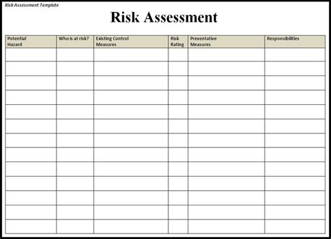risk assessment risk assessment template free word templatesfree word