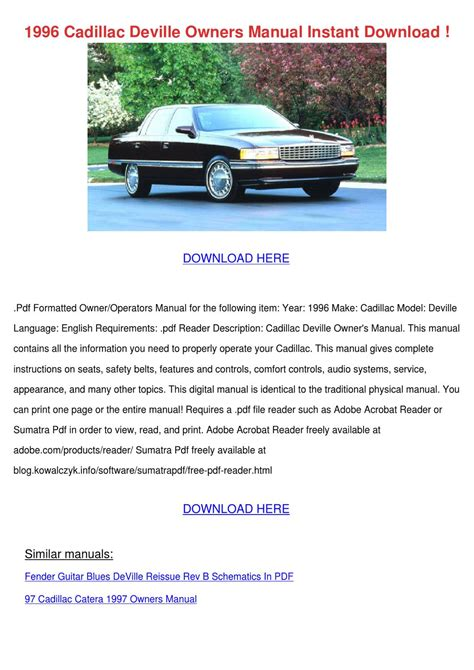 manual repair autos 1993 cadillac deville navigation system service manual old car owners manuals 1996 cadillac deville on board diagnostic system