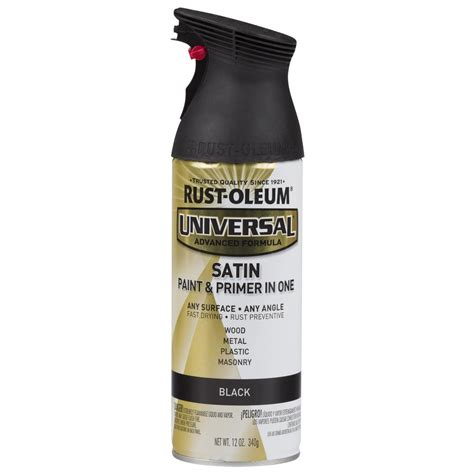 home depot spray paint and primer rust oleum universal 12 oz all surface satin black spray