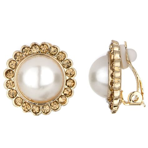 earrings with leonie s imitation pearl gold button clip on earrings