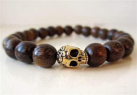 mens wood bead bracelet skull beaded bracelet wood beaded bracelet skull by binichohan