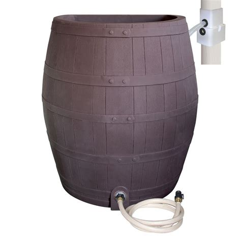 Whiskey Barrel Planter Home Depot by Rescue 50 Gal Solid Brown Flat Back Whiskey Rain Barrel