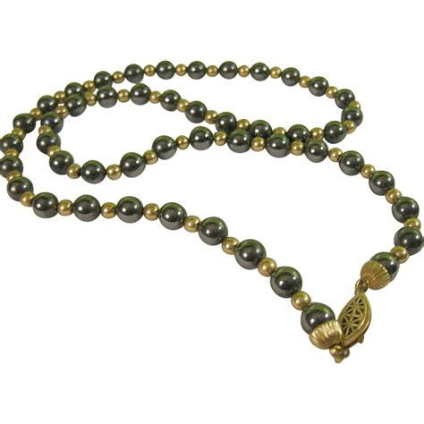Vintage Sterling Vermeil Hematite Bead Necklace From