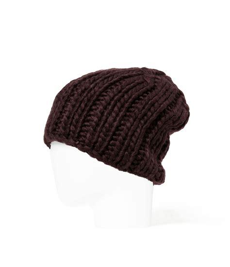 maroon knit beanie zara chunky knit beanie hat in brown for maroon lyst