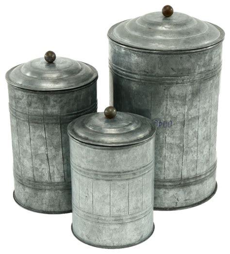 metal set galvanized metal canisters set of 3 farmhouse kitchen