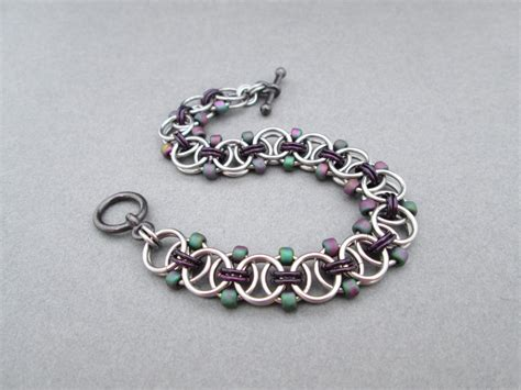 beaded chain mail jewelry purple beaded bracelet chainmaille jewelry toggle bracelet