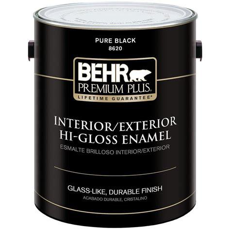 home depot paint voc free behr premium plus 1 gal black hi gloss low voc interior
