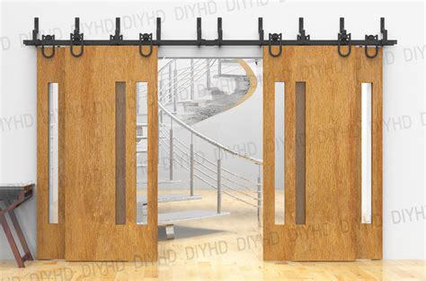 track for barn door horseshoe bypass sliding barn wood closet door rustic