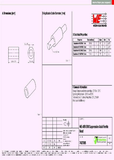 ferrite bead datasheet 7427005 5777534 pdf datasheet ic on line