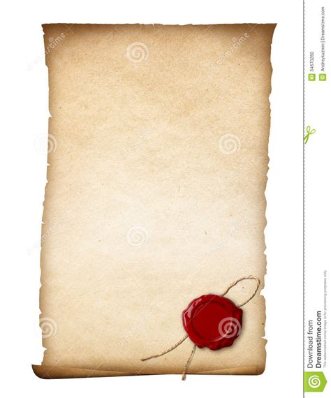 sealing paper parchment or paper with wax seal stock photo image