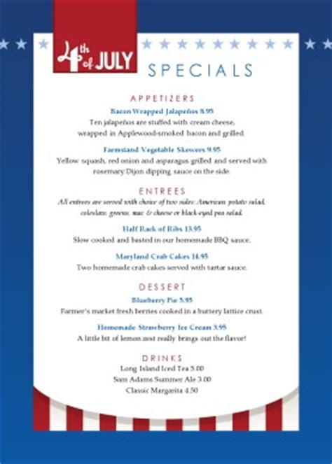 independence day table tent 4th of july menus