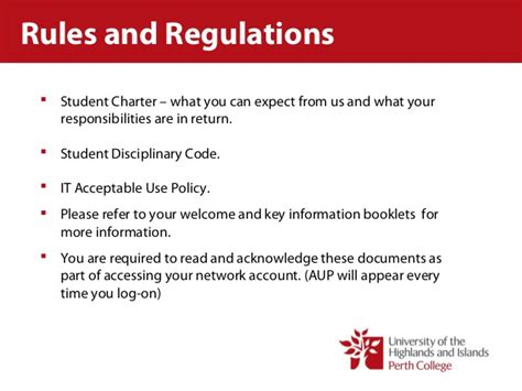 and regulations perth college student services and regulations