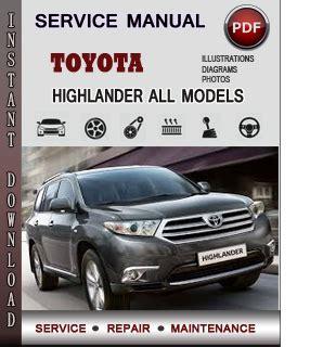 toyota highlander service repair manual download info service manuals