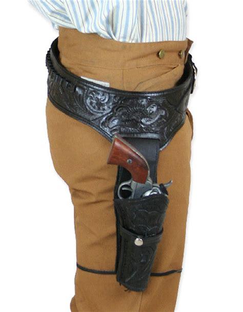 leather gun belt and holster 38 357 cal western gun belt and holster rh draw black tooled leather