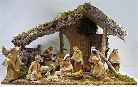 manger set crib nativity set 6 inch wood effect figures