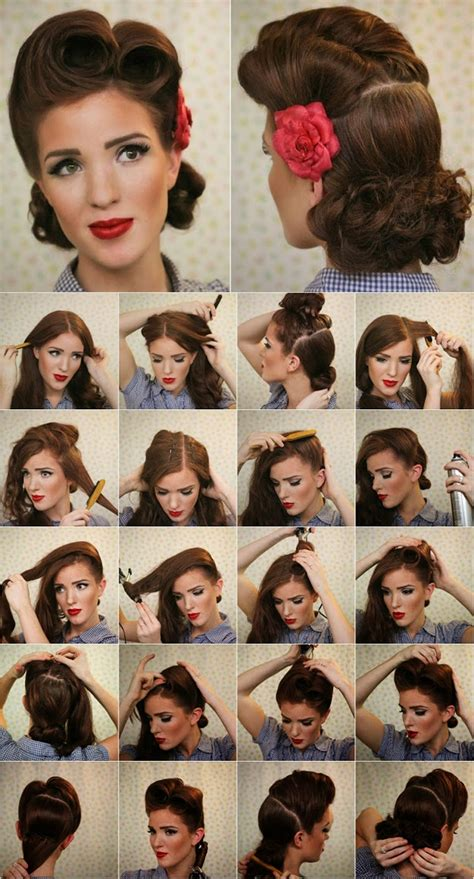 tutorial thin hair hairstyles victory roll pin up tutorial vintage look pin up victory
