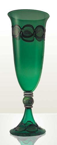 potters glass green glass on glass vase murano glass and