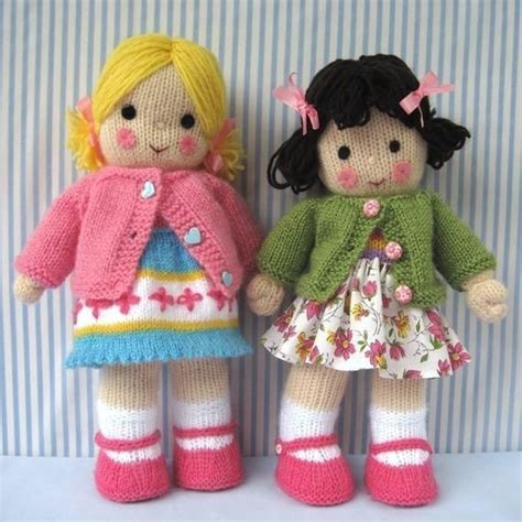 free knitted doll patterns polly and kate knitted dolls knitting pattern by