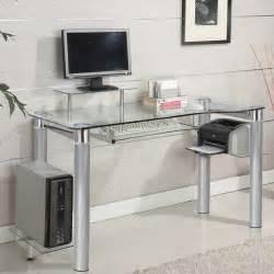 glass top computer desks for home glass clear chrome silver chrome accent side shelf