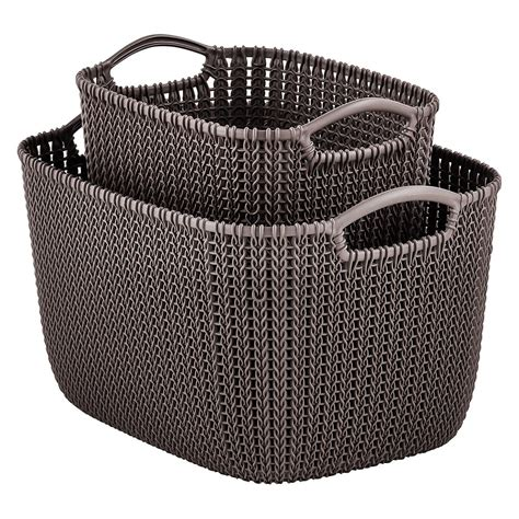 knitting baskets curver harvest brown knit baskets the container store