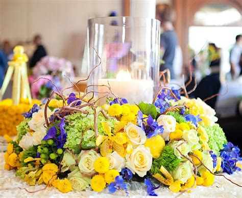 Green And Yellow Table Decorations by Bahamas Wedding Blue Green Yellow Table Centerpiece