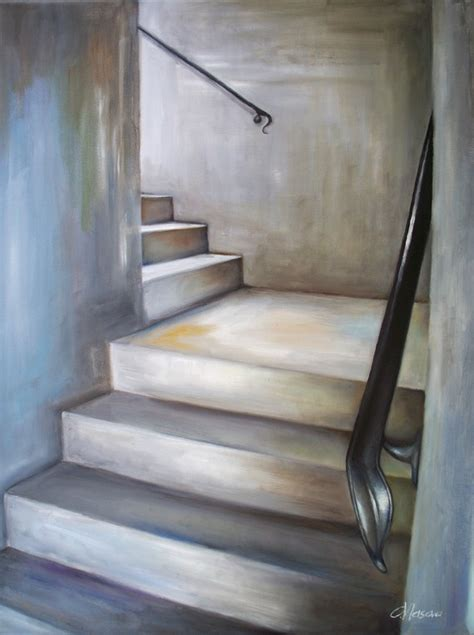 Home Interiors Colors staircase oil painting original art in gray white by