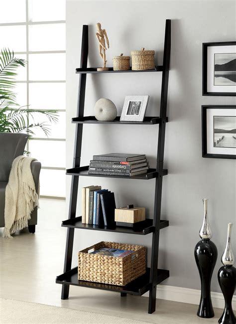 black ladder bookshelves furniture of america klaudalie 5 tier ladder style