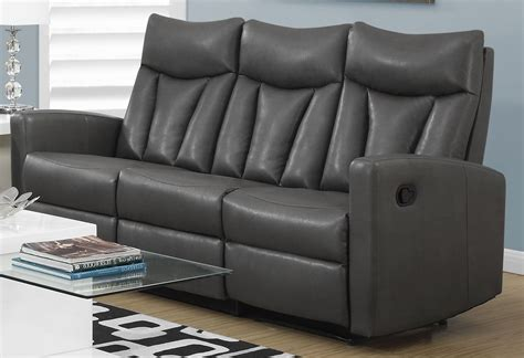 3 reclining sofa 87gy 3 charcoal grey bonded leather reclining sofa 87gy 3