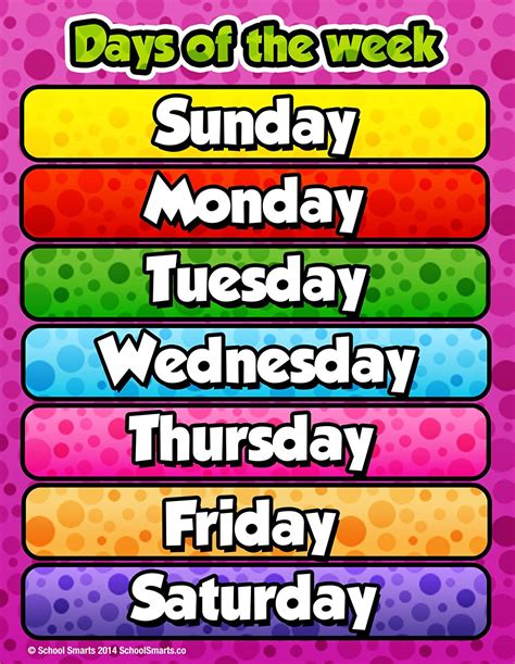 for children days of the week