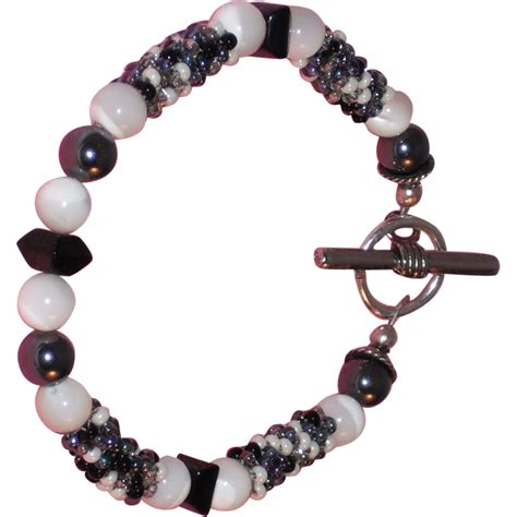Artisan Black And White Beaded Bracelet From Musibows On
