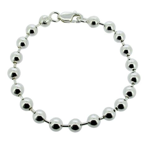 6mm bead bracelet 925 solid sterling silver bead bracelet 4 5mm